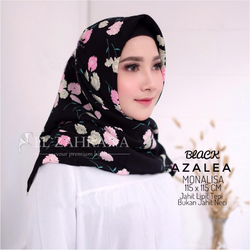El Zahrana Jilbab Segi Empat Navyla Square Hijab Premium Wolvis