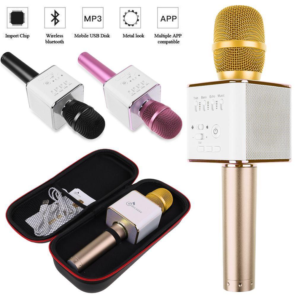Q9 Wireless Karaoke Microphone Bluetooth Speaker 2-in-1 Handheld Sing Recording Portable KTV Player   Shopee Indonesia
