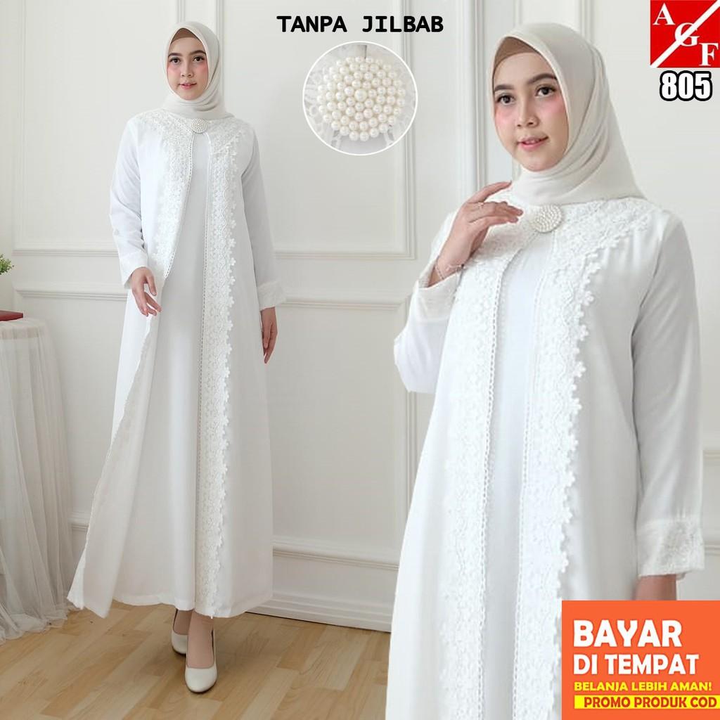 AGNES Baju Gamis Putih Wanita Brukat Baju Lebaran Umroh Haji Busana Muslim  Wanita 8