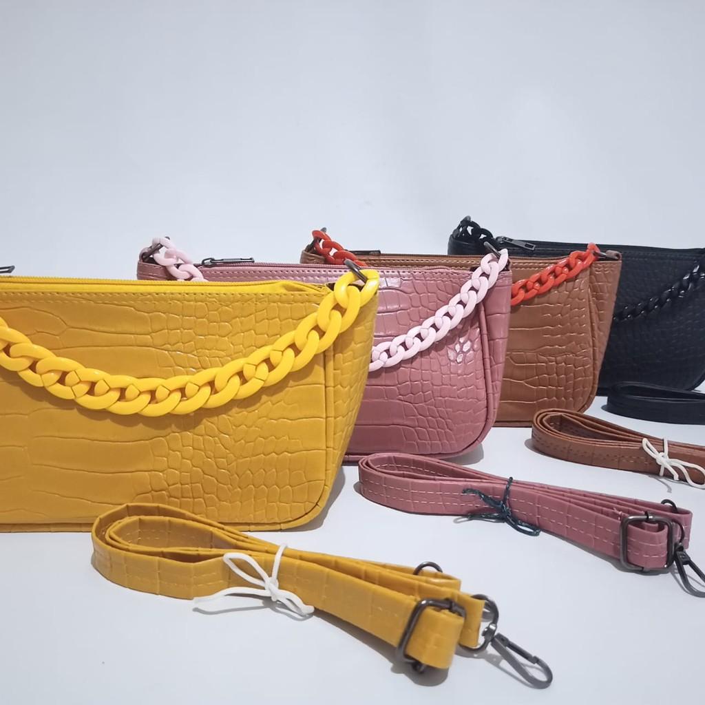 tas wanita selempang slingbag tenteng handbag rania croco ...