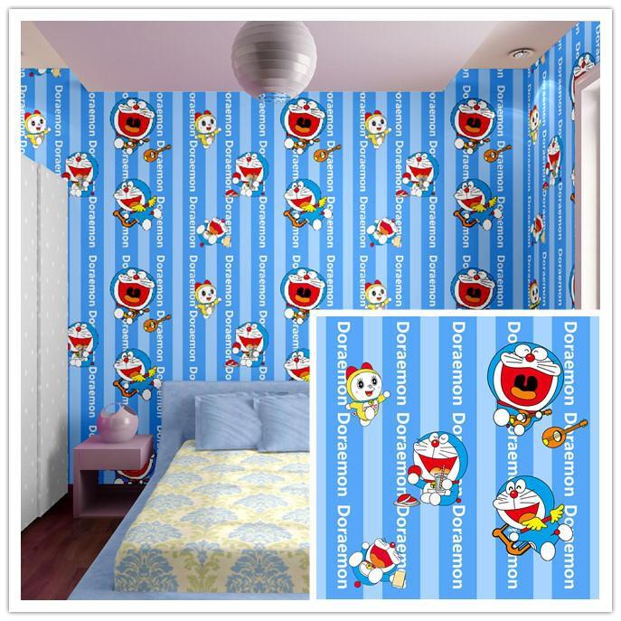 Wallpaper Dinding Stocker Doraemon Dorami Garis Biru Shopee