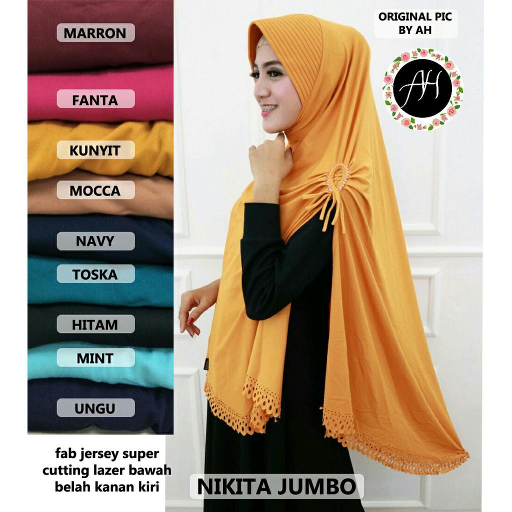 Jilbab Instan Syari Khimar Jumbo Nikita Shopee Indonesia Kaos Serut