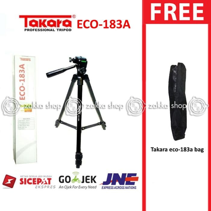 Tripod Takara Eco 183A + Pouch, Tripod Adapter U/ Action Cam, DSLR, gopro, brica, xiaomi yi, kogan | Shopee Indonesia