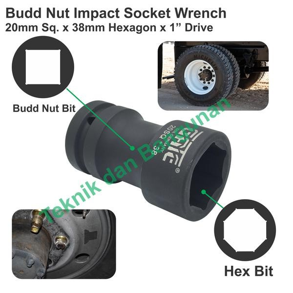 "Budd Wheel Nut & Hexagonal Impact Socket 20mm X 38mm X 1.0"" Drive   Shopee Indonesia"