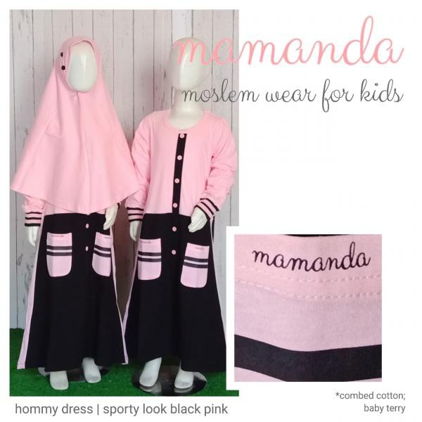 Gamis Anak Black Pink Hommy Dress Sporty Look by Mamanda