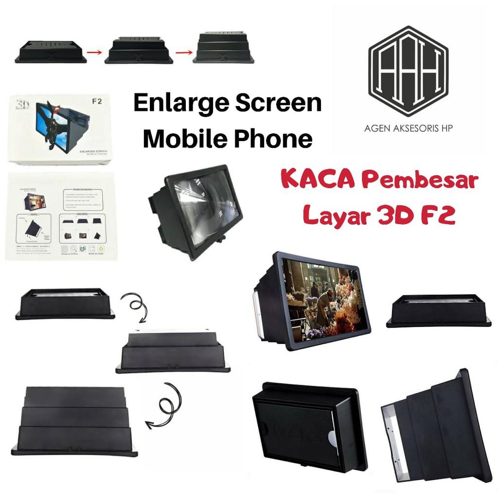 Kaca Pembesar Layar 3d F2 Enlarge Screen Mobile Phone Portable Magic Box Hd Zoom Optical Shopee Indonesia