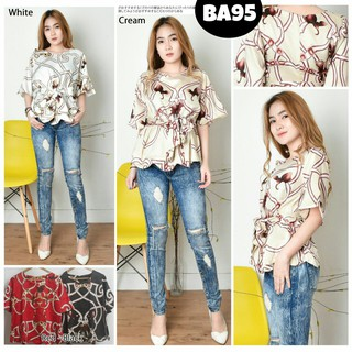 Baju atasan blouse motif abstrak hitam putih cream merah casual fashion  cewek wanita murah -95  09a985ad2f