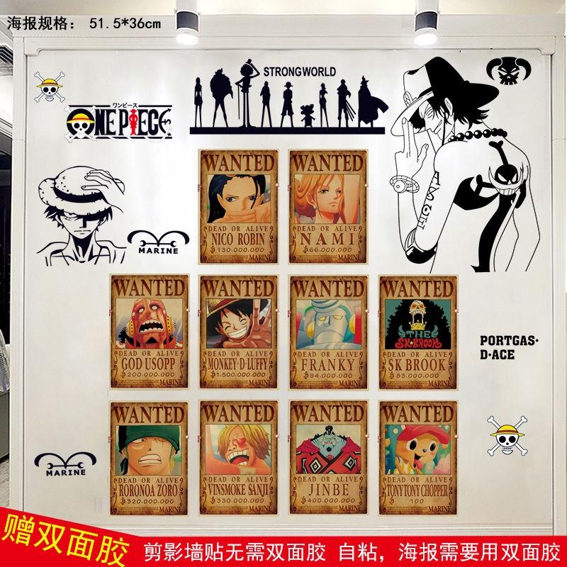 Anime One Piece Poster Wall Sticker Boy Asrama Kamar Tidur Wallpaper Sticker Dekorasi Kamar Tidur Ka Shopee Indonesia
