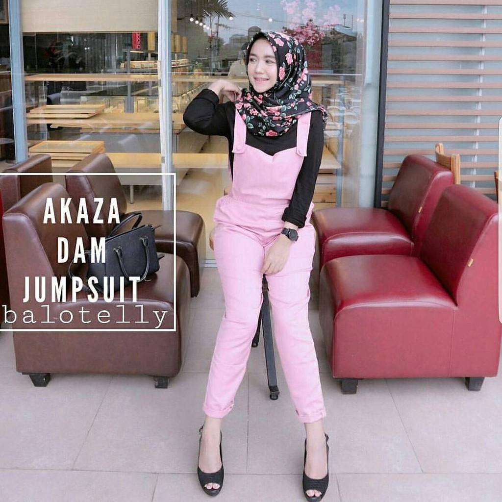 Celana hitam / Overall wanita lucu / hijab murah : Akaza Dam Jumpsuit | Shopee Indonesia