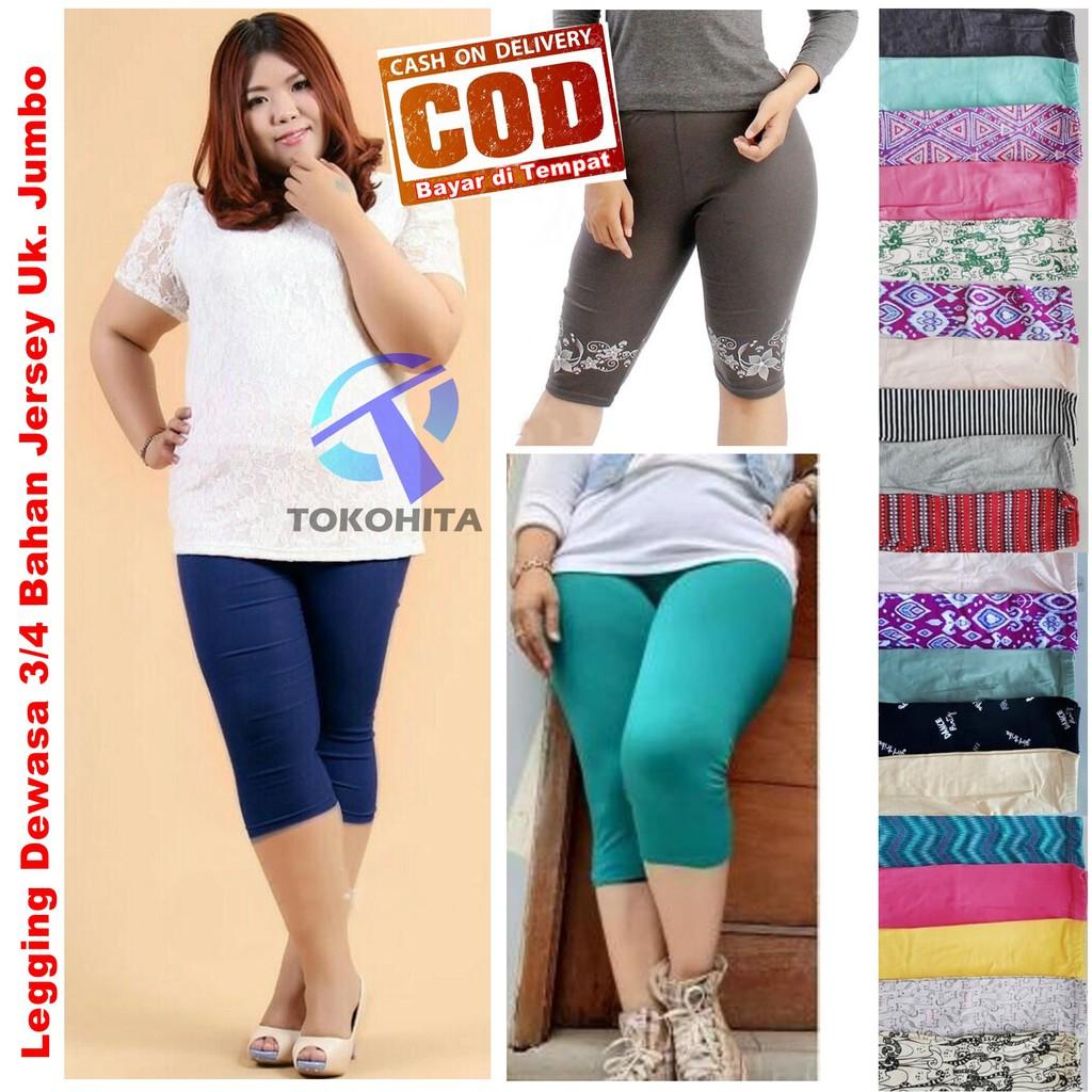 Morashop Legging Pendek Wanita 3 4 Bahan Spandex Standart Dan Jumbo Shopee Indonesia