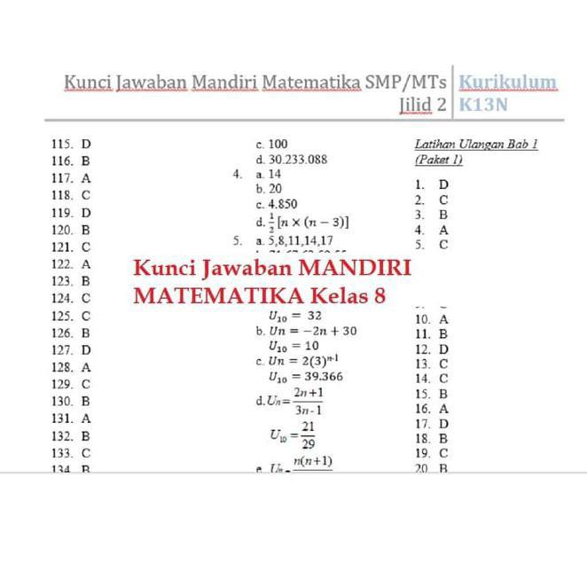 Baru Buku Mandiri Matematika Smp Kelas 8 K13 Soal Jawaban Kurtilas Shopee Indonesia