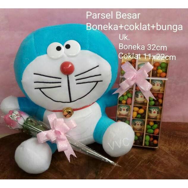 Parsel boneka doraemon (besar) + coklat + bunga   kado valentine ... c191576560