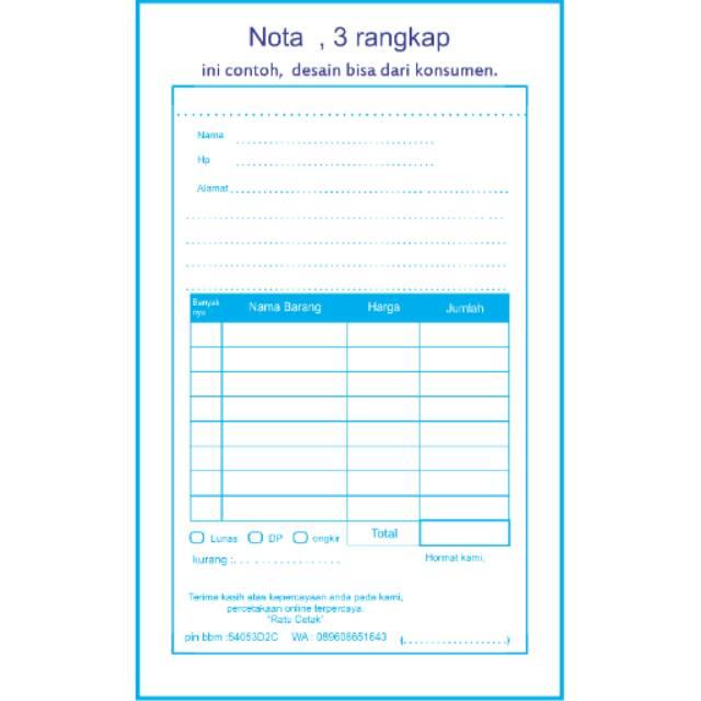 Nota Toko 3 Rangkaprp44000 1 Warna