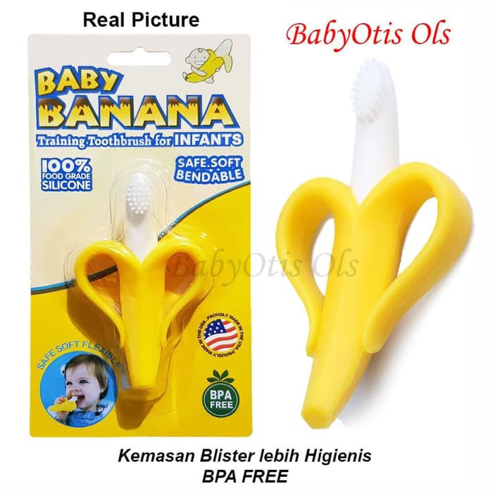 Sikat Gigi Bayi Baby Banana Tooth Brush Gigitan Teether | Shopee Indonesia