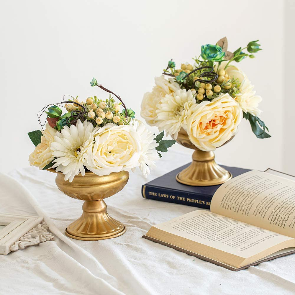 2 Pieces Mini Size Metal Urn Planter Wedding Centerpieces Vase For Wedding Party Decoration 12 6cm Large Trumpet Vase Flower Holder For Birthday Ceremony White Shopee Indonesia