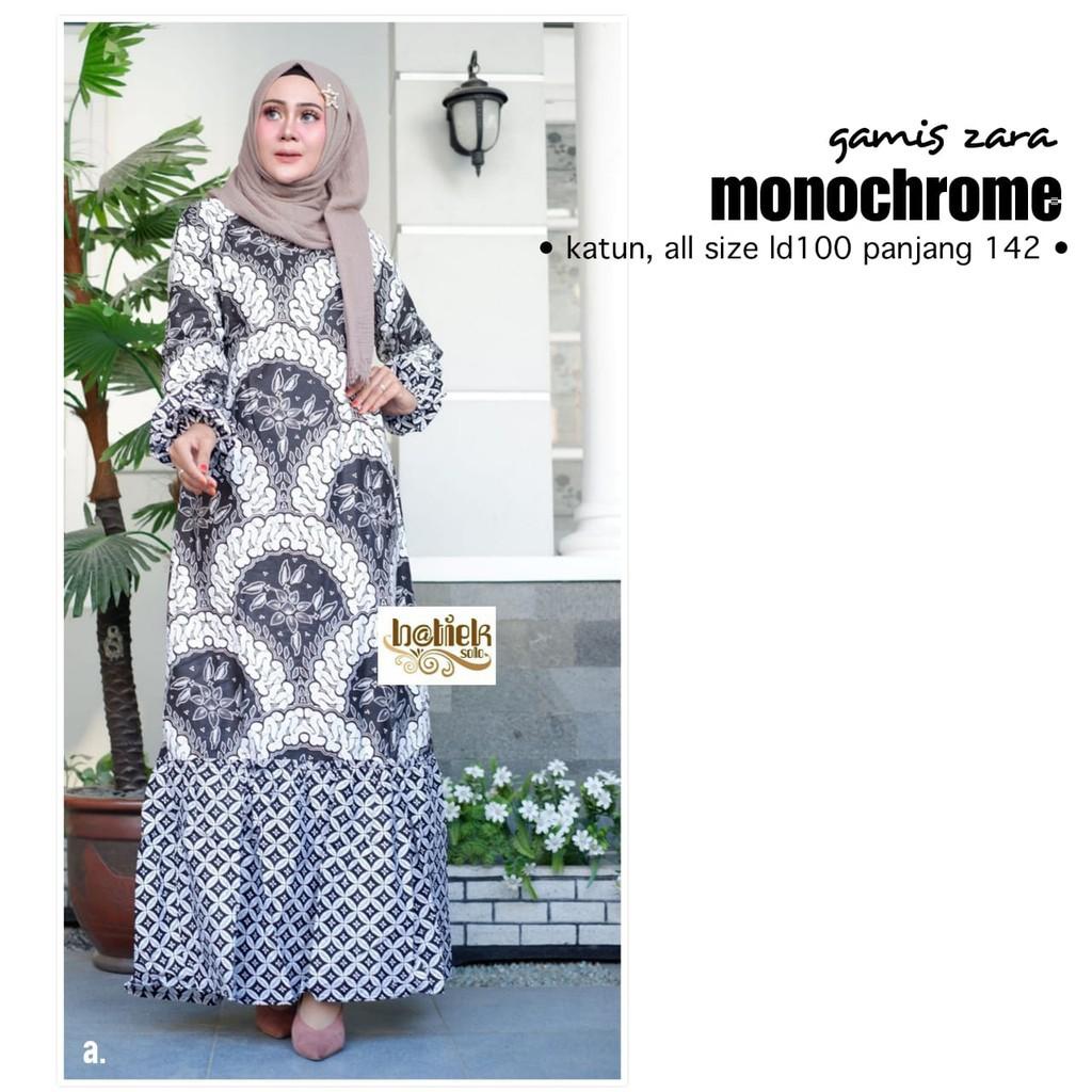Gamis Zarra Verti Zara Monochrome Gamis Cantik Modern Modis Syari Seragaman  Pesta Batik Biru Keren