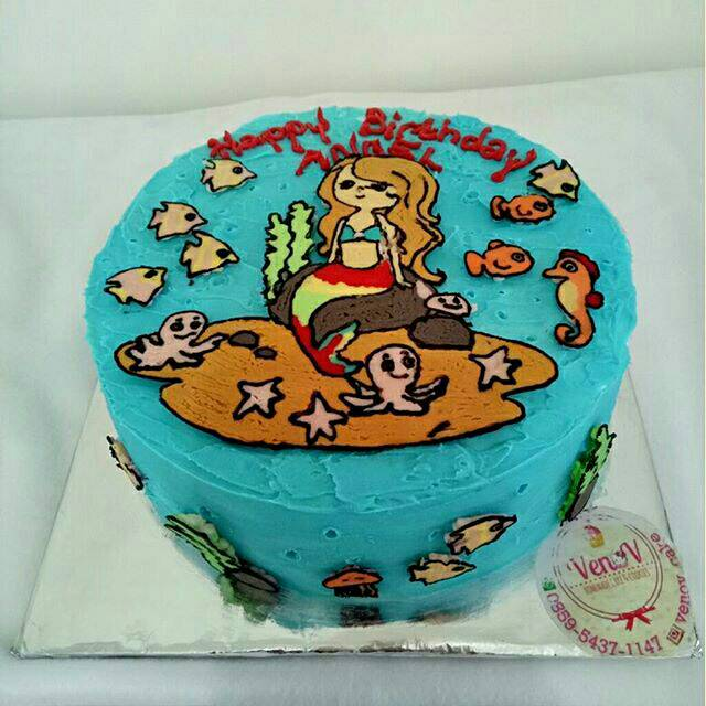 Kue Tart Ulang Tahun Ultah Anak Lucu Mermaid Cake Malang Free Ongkir
