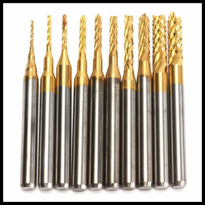10Pcs 0.8-3.175mm Nano Blue Coat End Mill Engraving Bits Drilling Hole Tool for PCB Circuit Board Wood Plastic 1//8inch Shank Fiber Copper