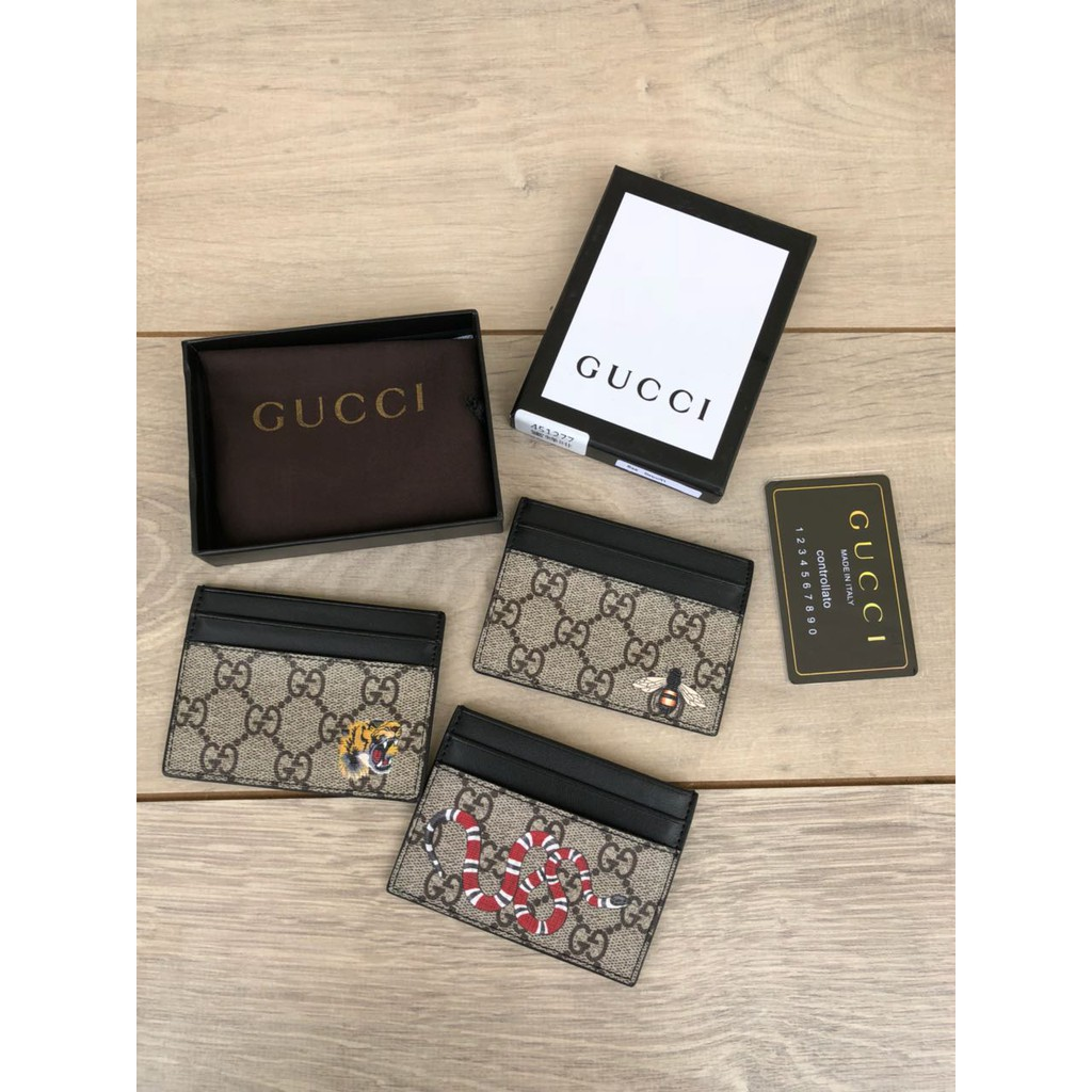 Dompet Gucci Card Holder GG Supreme Print Mirror 451277  607991f125