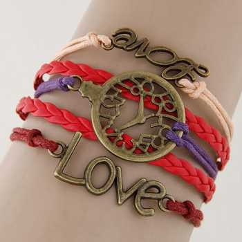 LRC Gelang Tangan Vintage Red Hollow Out Watch&letter Love Decorated Multilayer Bracelet | Shopee Indonesia