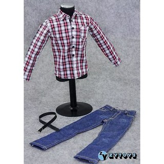 1//6 Red Plaid Bandage Top Short Jeans Pants for 12/'/' Phicen Female Figure