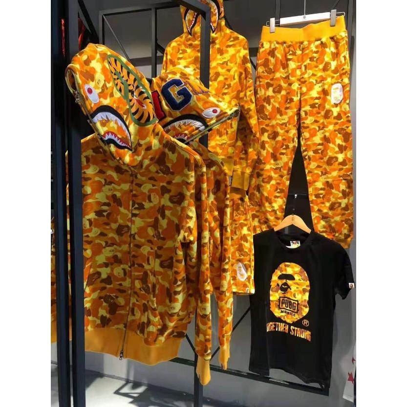 Bape x pubg Jaket Hoodie Motif Camo Warna Kuning   Shopee Indonesia