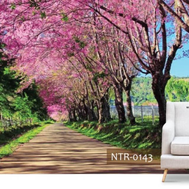 Grosir Wallpaper Dinding Castem 3d Motif Taman Pohon Sakura Warna Pink Hijau Coklat Modern Shopee Indonesia