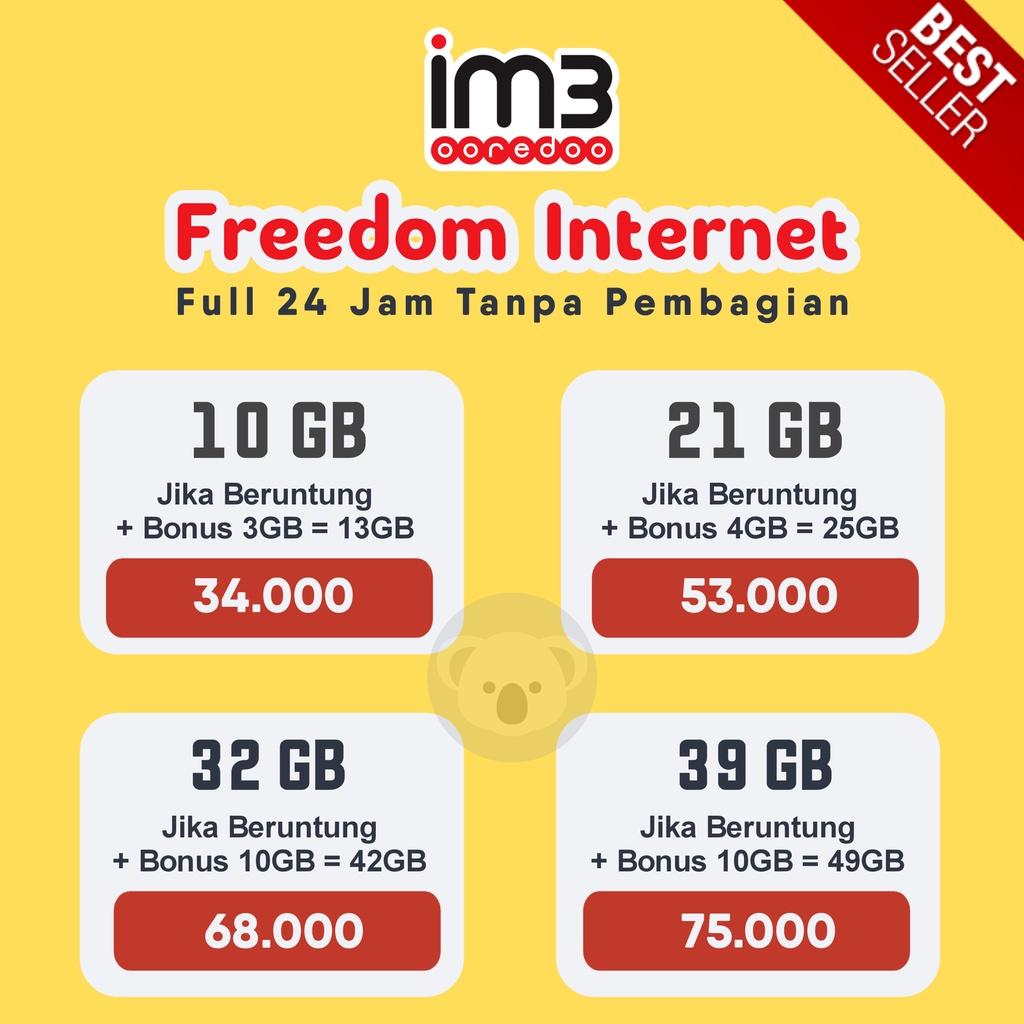 Gift Indosat Freedom 24 Jam 10GB,21GB,32GB,39GB / 30 HARI