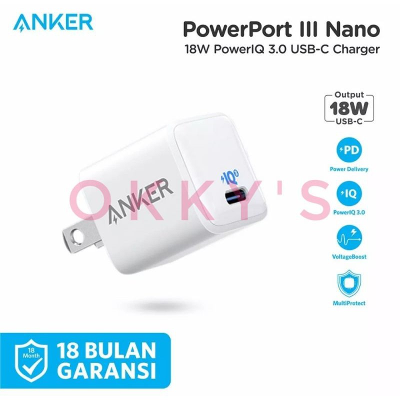 Anker PowerPort III Nano PD PowerlQ 3.0 18W dan 20W Original Garansi Resmi