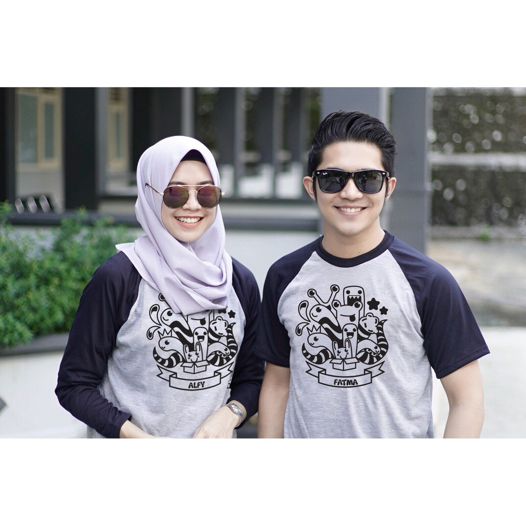 Kaos Couple Desain Lucu Cetak Nama  9191c1e4a4