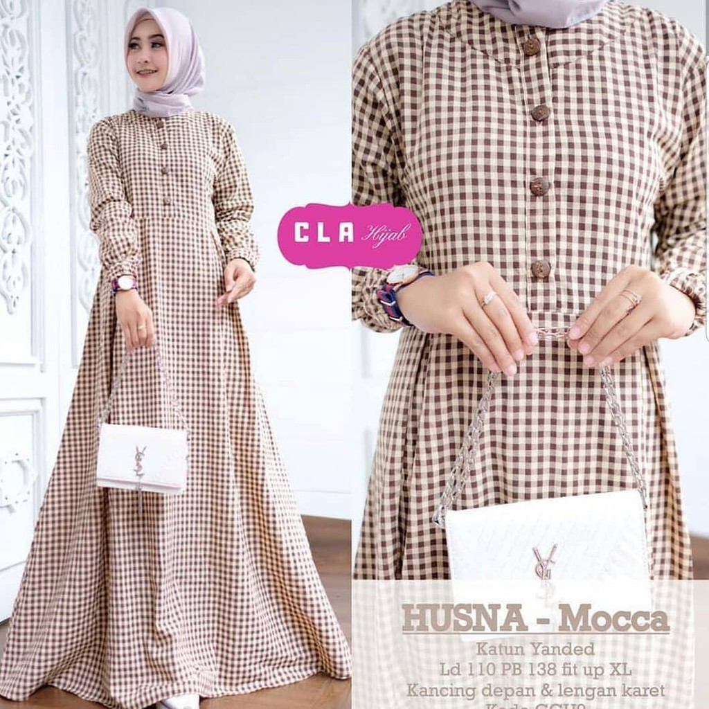 HUSNA DRESS MC Katun Baju Wanita Muslimah Trenddy Dengan Motif Kotak Kotak  Dan Model Simpel Kekinian
