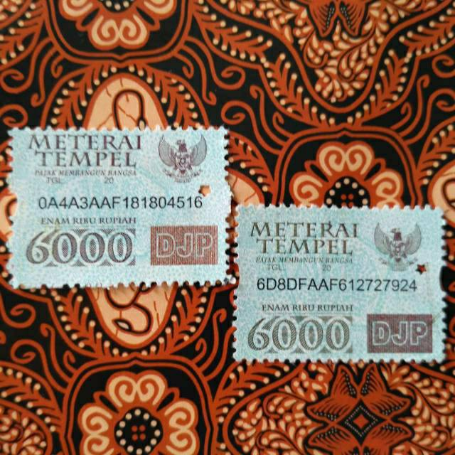 Materai/Meterai 6000 Rupiah tahun 2010, 2011, 2012, 2013 dan 2014.