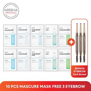 PAKET MISSHA MASCURE SHEET MASK (10 pcs) FREE Eyebrow Dark Brown (3 pcs) thumbnail
