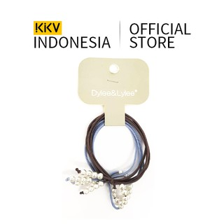 KKV - Dylee&Lylee Blue grey pearl single bow Ikat Rambut Karet Rambut Aksesoris Rambut thumbnail