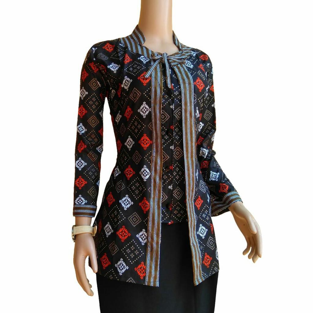 Blus Batik Atasan Wanita Baju Batik Wanita Seragam Guru Kantor