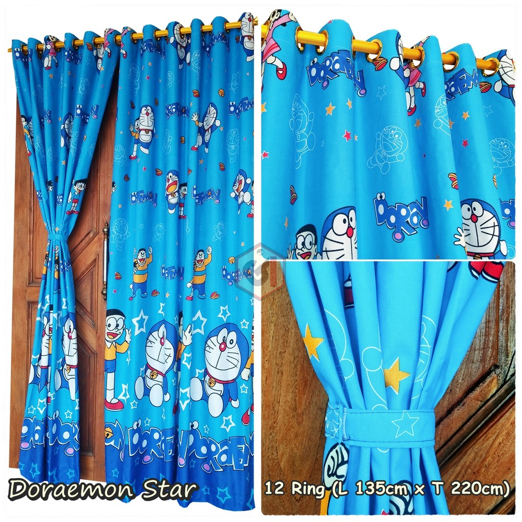 Gorden Smokering Motif Kartun Doraemon Star Warna Biru Jahitan Rapi Ukuran 135 X 220 Cm Ring 12