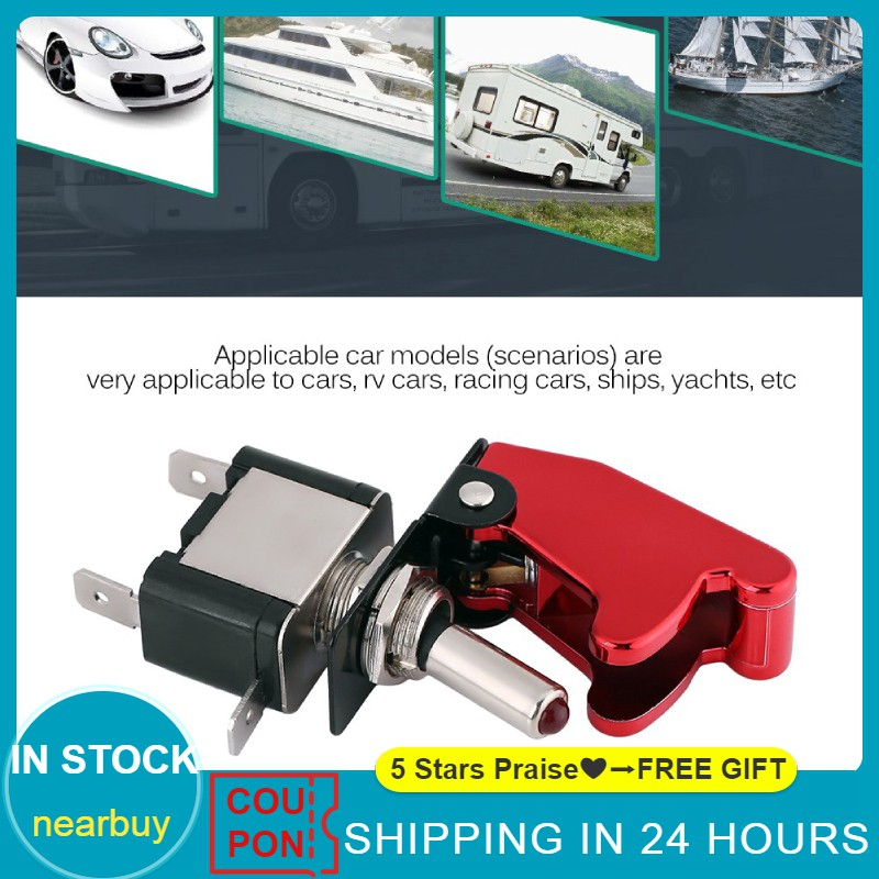 Cuque 12V 20A Car Rocker Toggle Switch LED SPST On//Off Switch Red Cover for Chassis Lamp Fog Lamps Critical Lights Dome Light