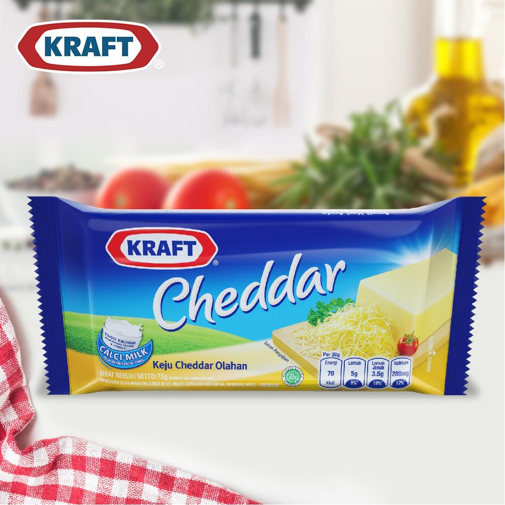 Kraft Keju Cheddar Processed Cheese Vitamin D 75 Gr