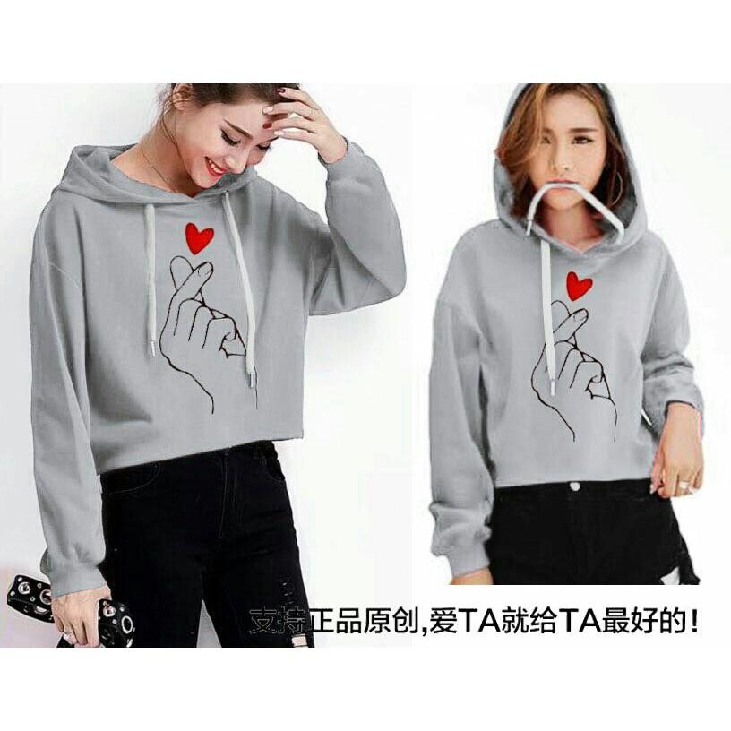Sweater Crop Hoodie Wanita East Coast Bahan Baby Terry Warna Pink All Size   af0b102ef3