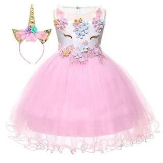 Dress Gaun Pesta Ulang Tahun Anak Unicorn Import