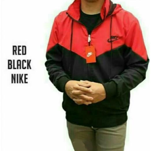 92f6aebe52 Jaket parasut nike windrunner merah hitam   jaket sport   jaket windrunner    jaket olahraga