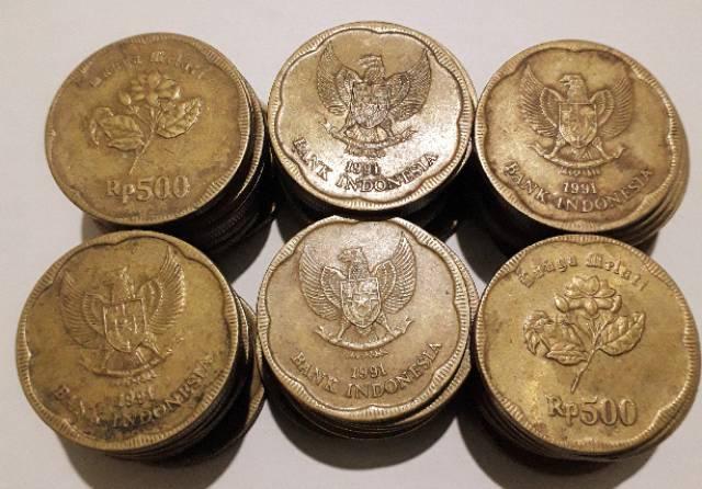 Uang Koin 500 Rupiah Melati Tahun 1991