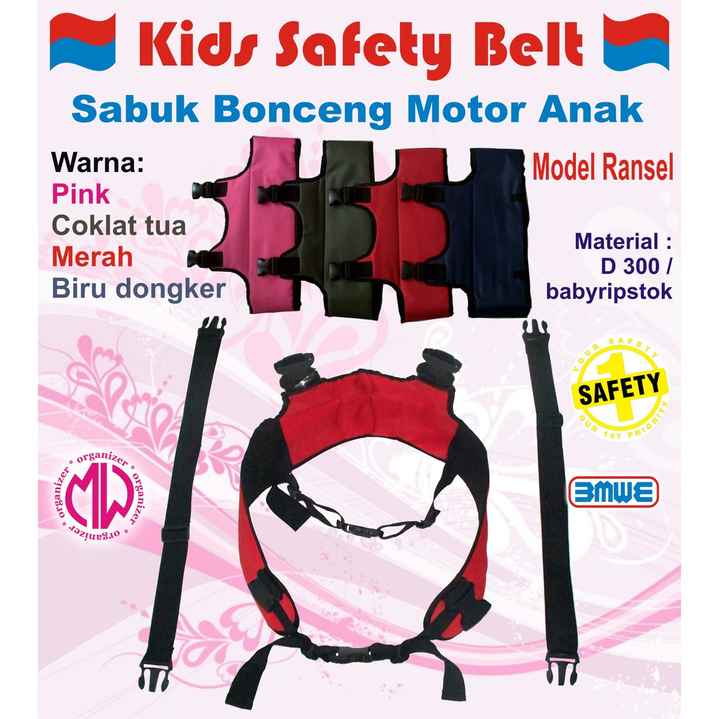 Sabuk Bonceng Anak Gendongan Safety Belt Boncengan Motor Zatra Merah Grosir Terlaris New Design