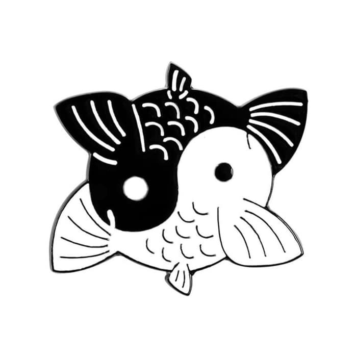 Dus 93 Bros Pin Enamel Yin Yang Taichi Fish Ikan Koi Mas Hitam Putih Shopee Indonesia