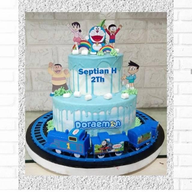 Doraemon With Moving Train Kereta Birthday Cake Kue Ulang Tahun Shopee Indonesia