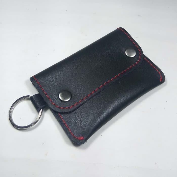 dompet stnk model kancing dua kulit asli warna hitam benang merah