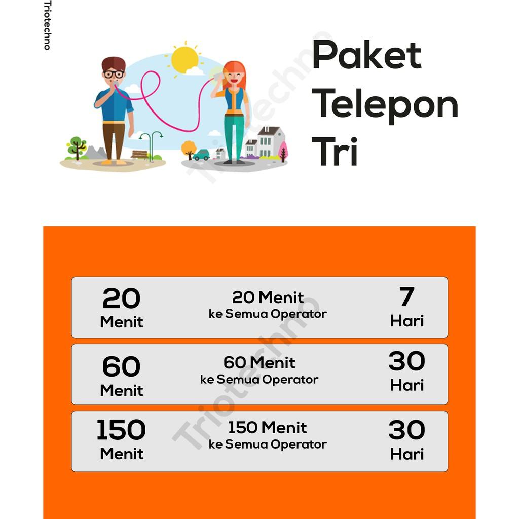 Paket Bebas Bicara Three Tri 3 Kouta Nelpon Telpon Telepon Semua Operator Shopee Indonesia