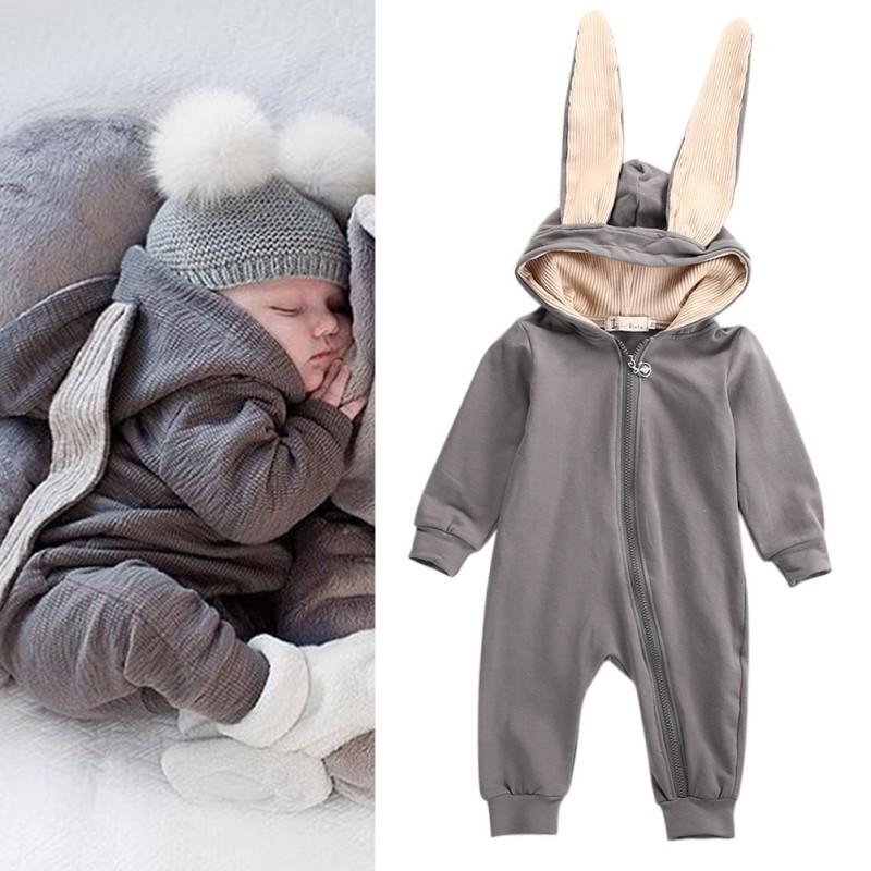 Cute Newborn Baby Boy Girl Warm Casual Cartoon Bunny Ears Hooded Romper Jumpsuit