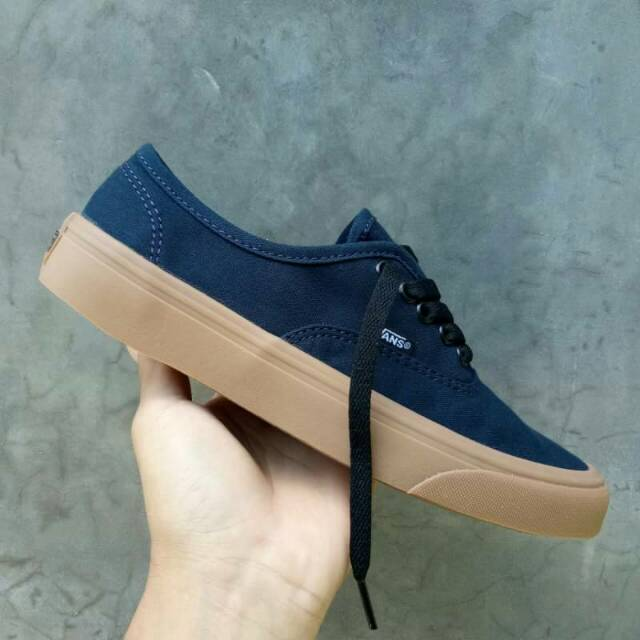 Sepatu Vans Authentic Navy Gum Biru Dongker Coklat Original PREMIUM Made In  China Waffle IFC WithBox  2522856da5