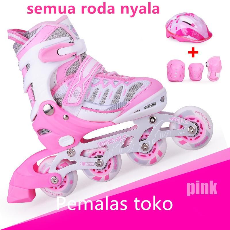 Sepatu roda anak bajaj murah sepatu inline skate lampu DEKER INLINE SKATE semua  roda nyala HELM ANAK  a802dea4e6